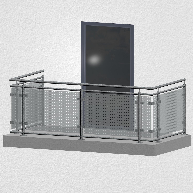 Balkongeländer verzinkt Designglas MC