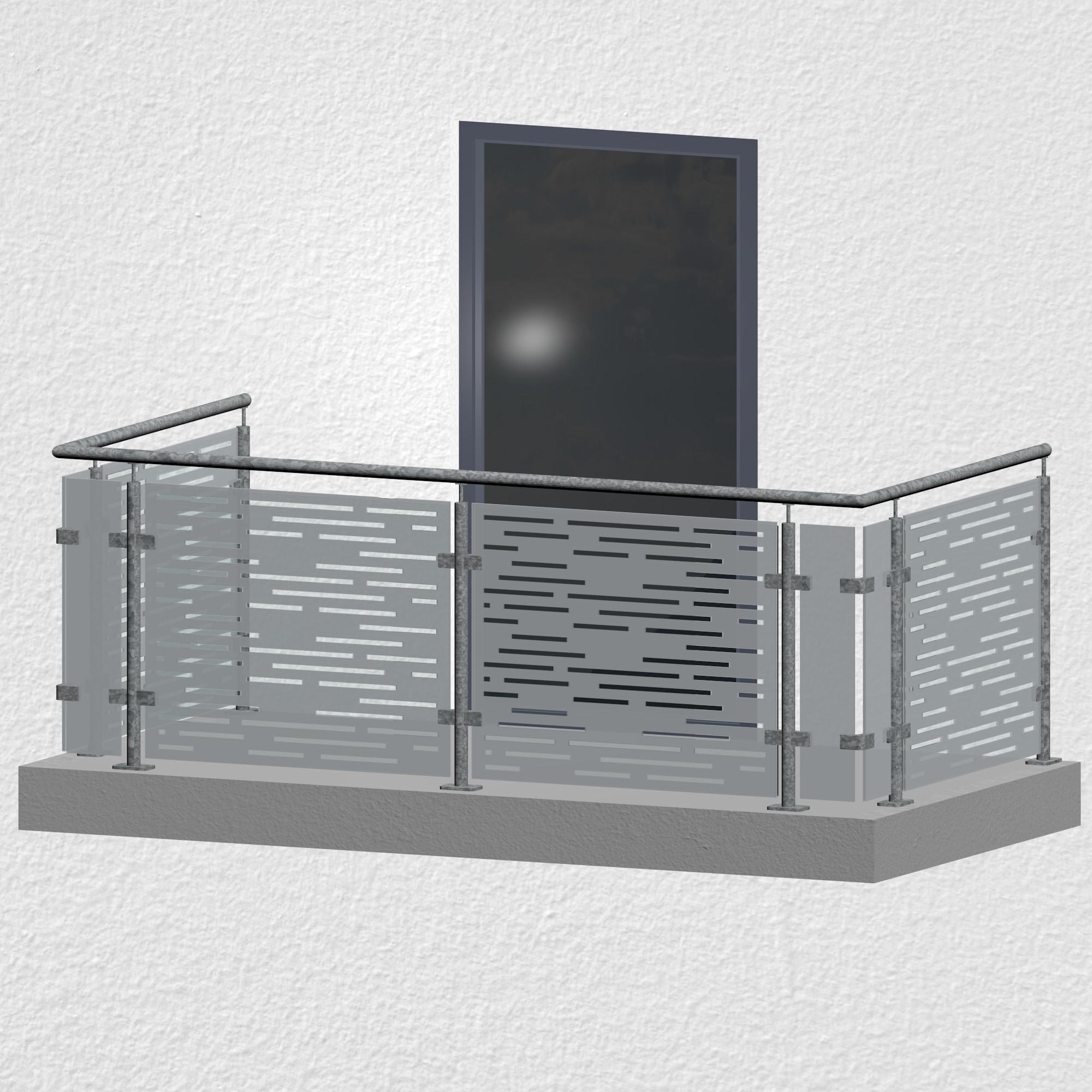 Balkongeländer verzinkt Designglas SF HO MO