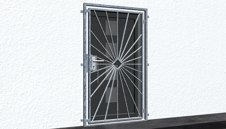 Gittertür verzinkt Sonne Karo