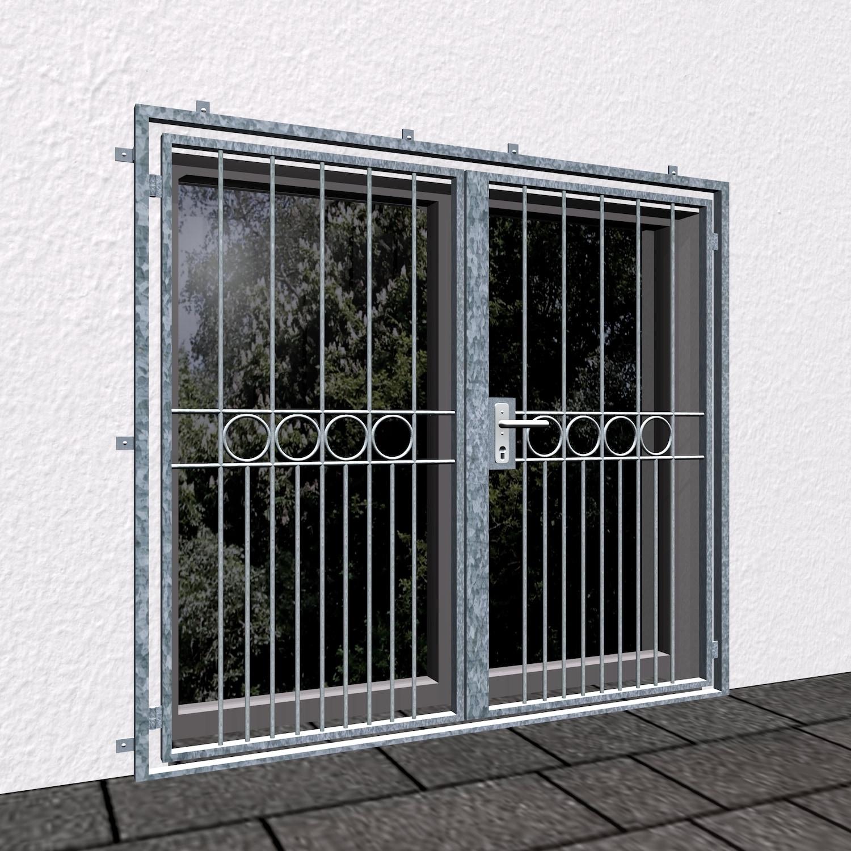 Gittertür verzinkt 2-flügelig Ringreihe