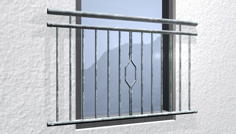 Französischer Balkon verzinkt 6-Eck Ornament