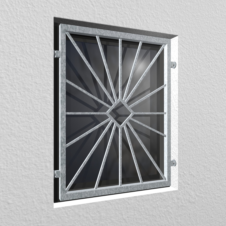 Mobiles Fenstergitter verzinkt Sonne