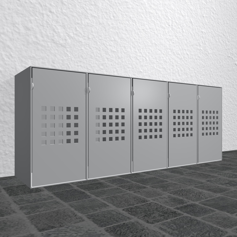 Design Mülltonnenbox Alu Cube Quadratloch