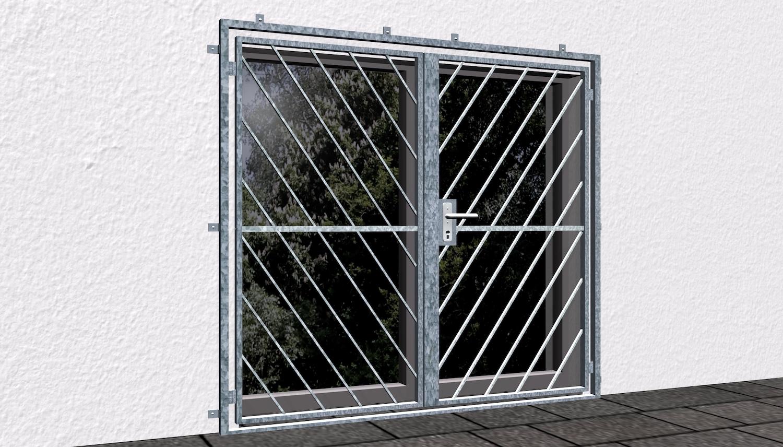 Gittertür verzinkt 2-flügelig Diagonalstab 2