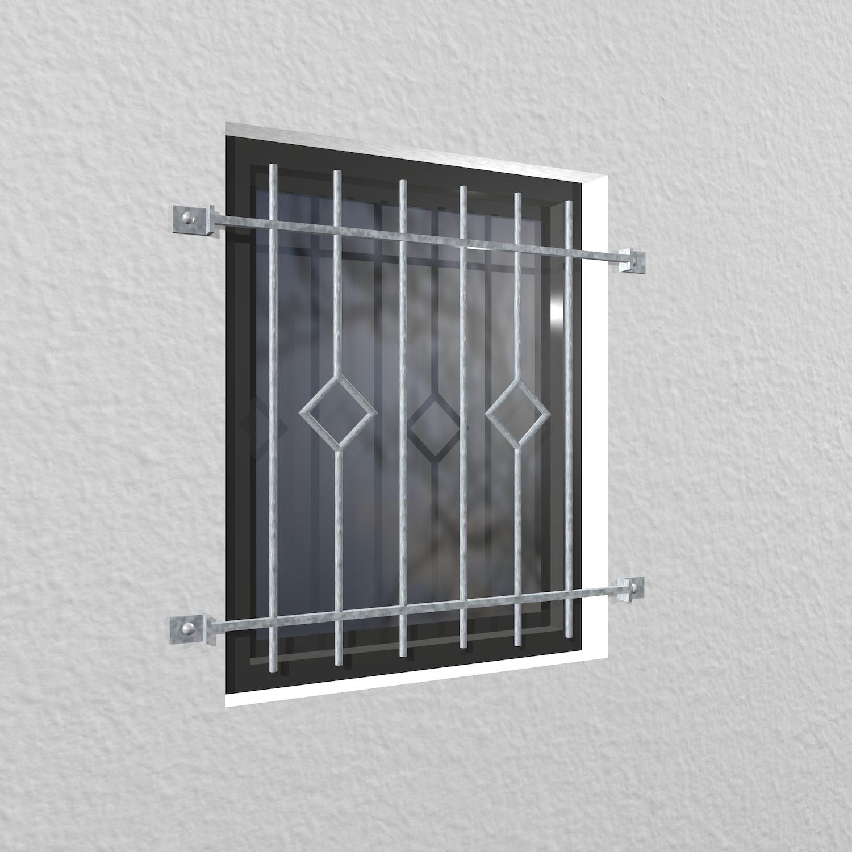 Fenstergitter verzinkt Karo Stab