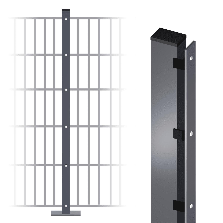 Stabgitterzaunpfosten verzinkt 60x40x2 mm
