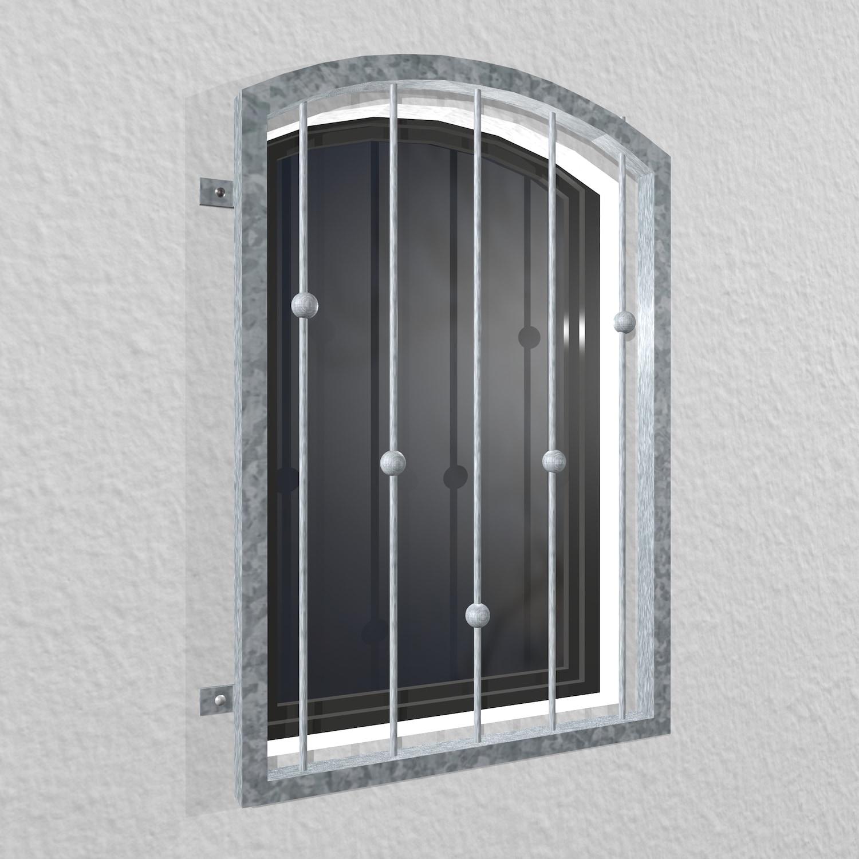 Fenstergitter verzinkt V-Kugeln Oberbogen